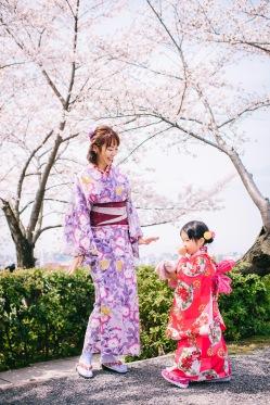 京都櫻花,親子浴衣出租