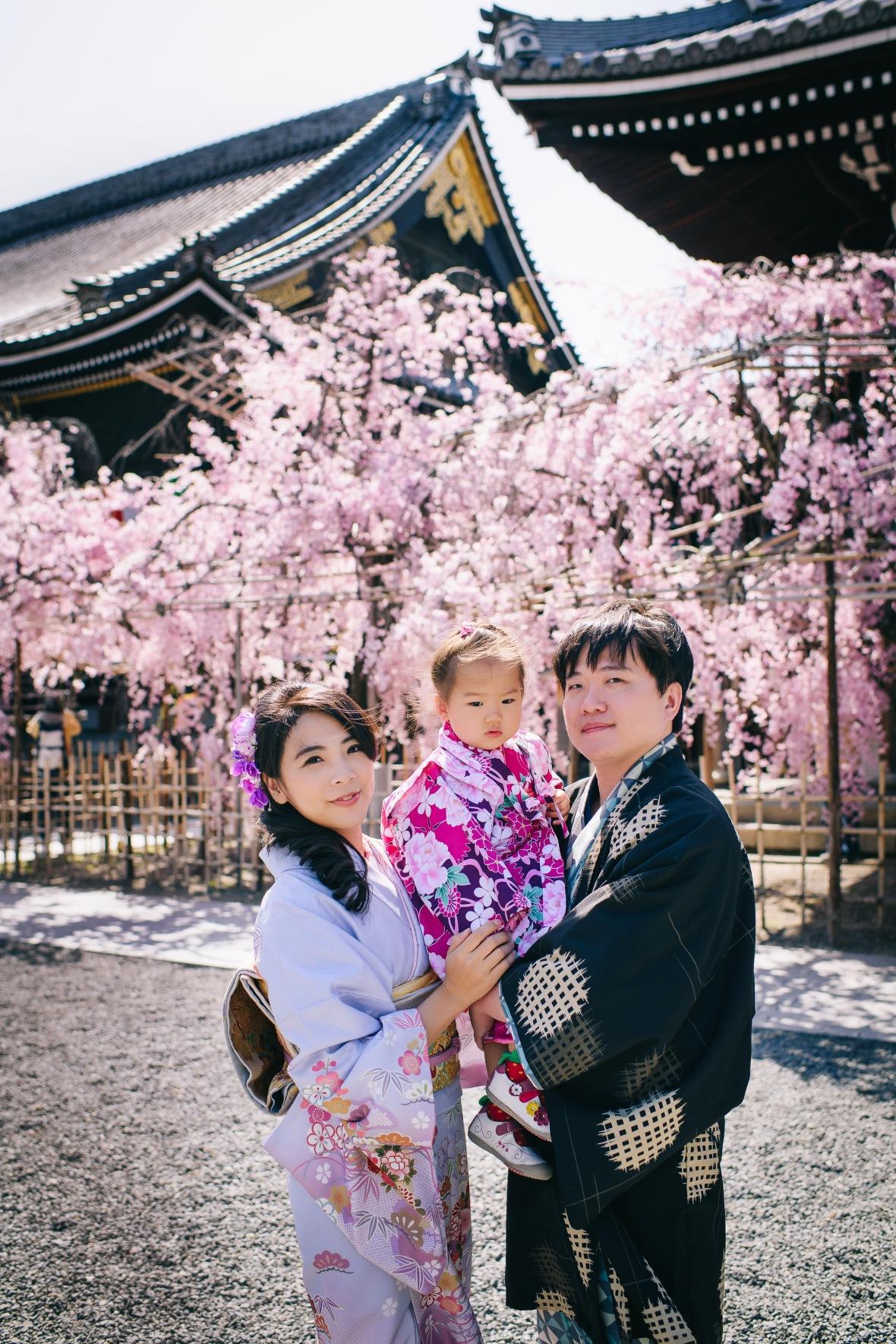 京都賞櫻,親子和服寫真