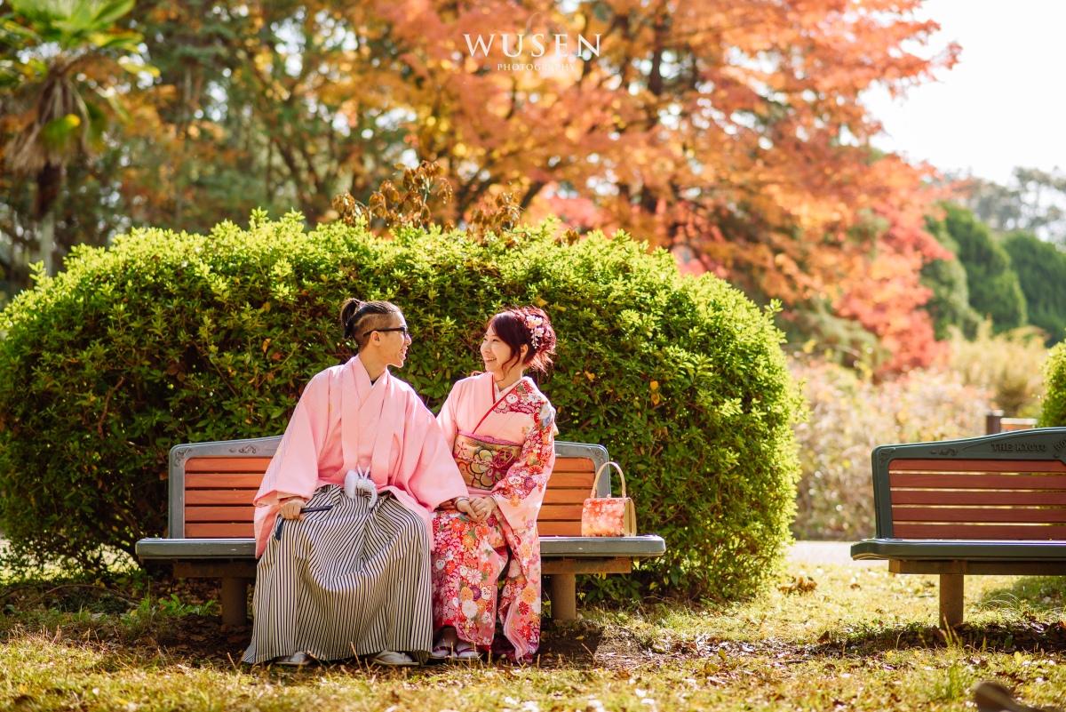 粉紅色和服情侶裝 京都和服週年紀念照 楓葉季京都植物園 和服攝影方案